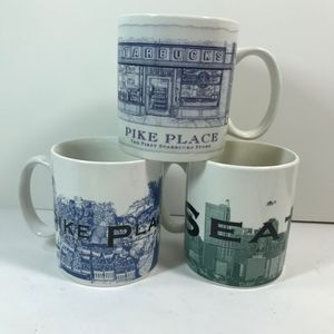 3 Starbucks Mug Pikes Place Market Seattle Coffee